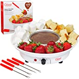 Chocolate Fondue Maker- Deluxe Electric Dessert Fountain Fondu Pot Set with 4 Forks and Party Serving Tray