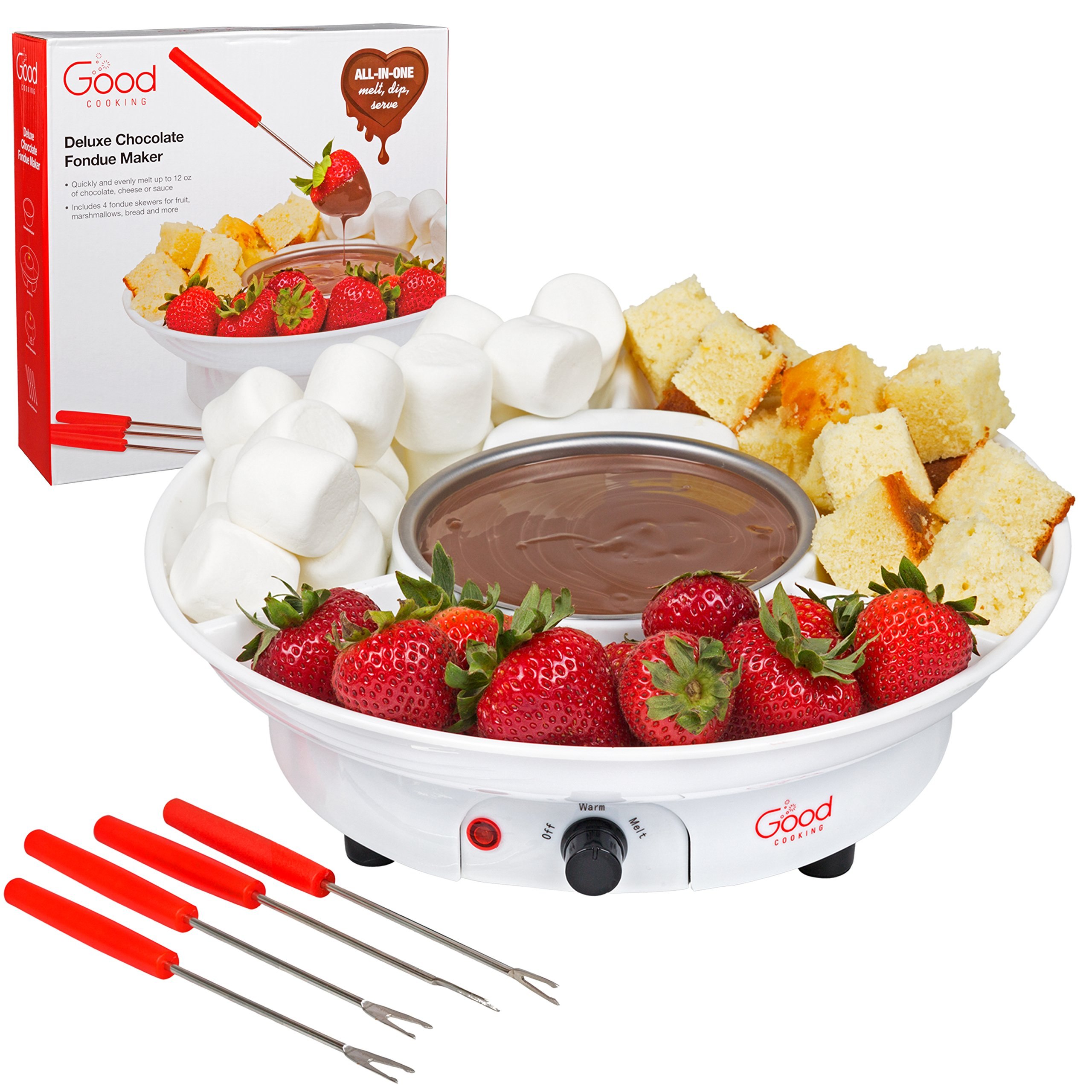 Chocolate Fondue Maker- Deluxe Electric Dessert Fountain Fondu Pot Set with 4 Forks and Party Serving Tray - A Great Valentine's Day Gift! by Good Cooking