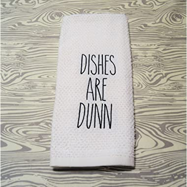 Embroidered Farmhouse Kitchen Towel Dishes are Dunn