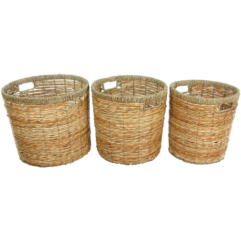 Oriental Furniture Rush Grass Waste Bin – 3のセット ベージュ WV-1357 B00A6VSYXS ベージュ