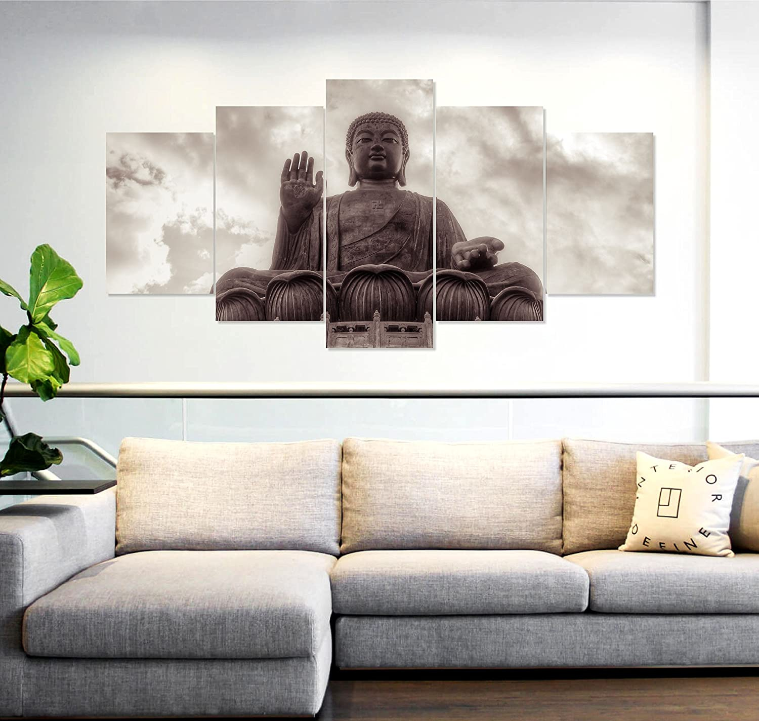 PRINTELLIGENT Multiple Frames Printed 5 Piece Lord Buddha Blessing ...