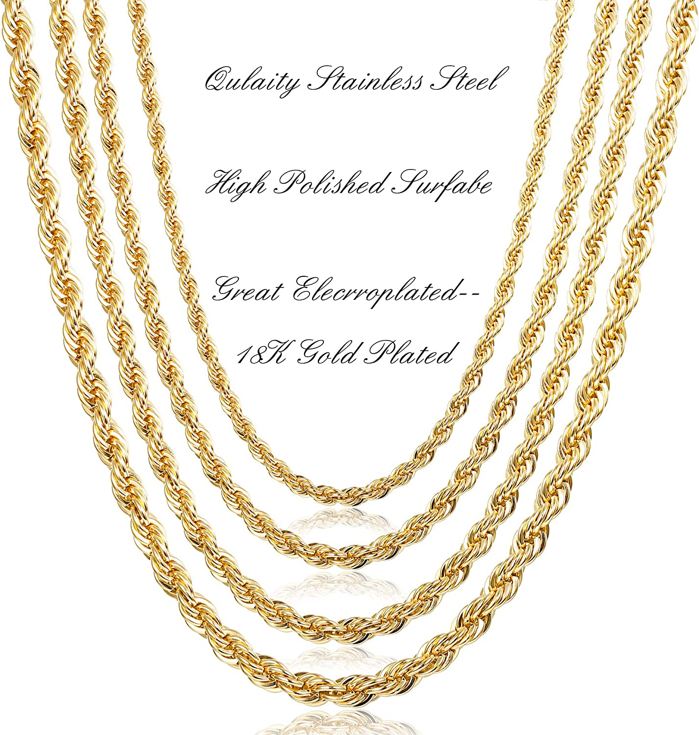 """GOLD over SILVER QUALITY MADE in ITALY 2mm ROPE CHAIN 18/""""  NECKLACE  R2E"""