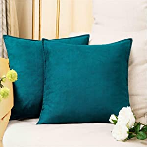 Zealax 2-Pack Cushion Covers Solid Color Comfortable Faux Suede Decorative Throw Pillow Covers Pillowcases for Sofa Couch Living Room Decor, 20 x 20 inches, Deep Teal
