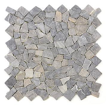 Divero 1qm Marmor Naturstein Mosaik Fliesen Für Wand Boden Bruchstein  Anthrazit 4 Großformat Matten