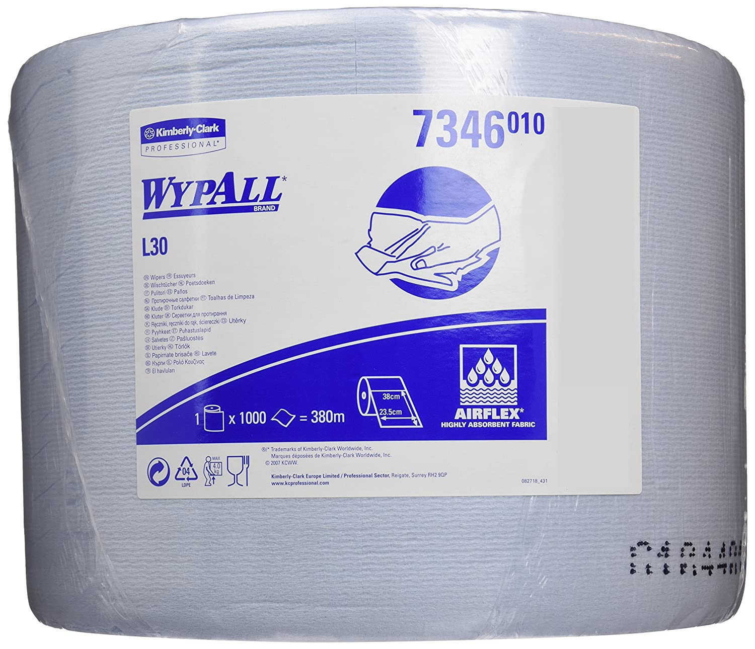 WYPALL* L20 Extra Wiper Large Roll 7346 - 1 roll x 1,000 blue, 2 ply sheets Kimberly-Clark Professional (EU)