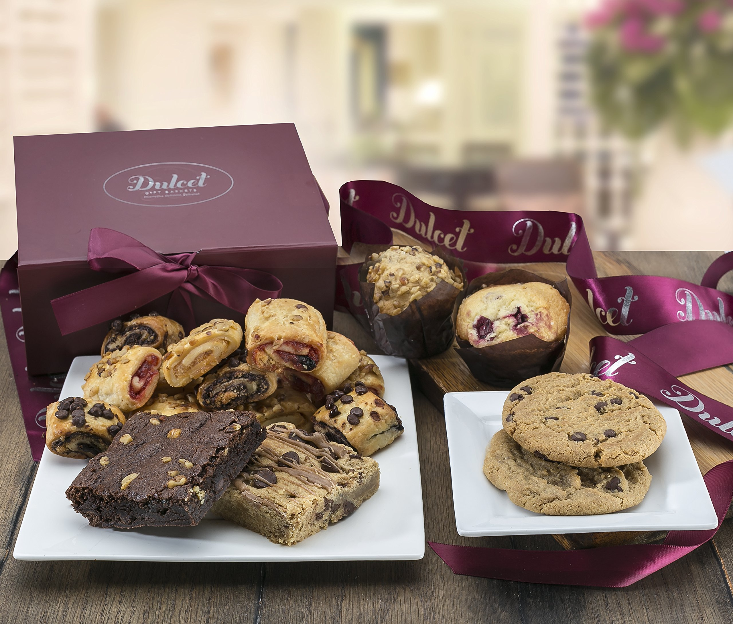 Dulcet Gift Baskets-Includes Scrumptious Assortment of Freshly Baked Goods: Walnut Brownies, Blondie, Cranberry and Banana Nut Muffin, Chocolate Chip Cookies, and Assorted Rugelach, Great & Top Gift!