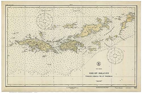 Amazon.com: Virgin Gorda to St Thomas 1921 - Nautical Map ...
