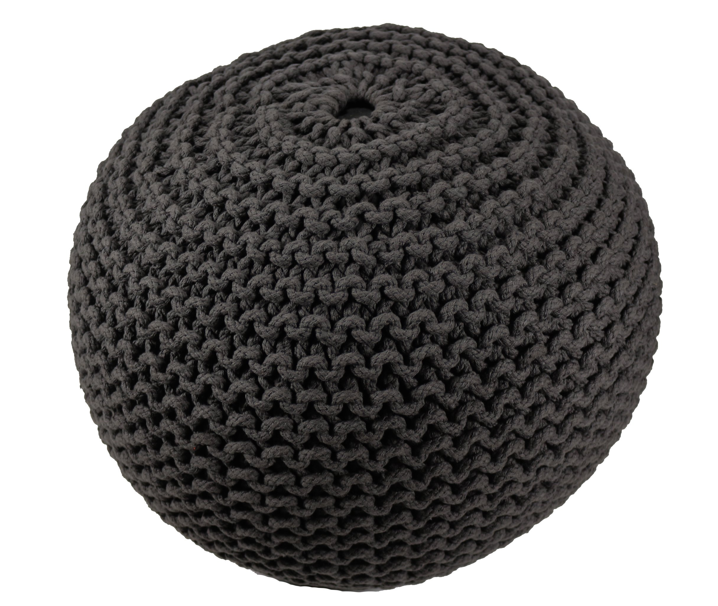 BrandWave Cotton Cover Round Pouf Ottomon/Seat - Elegantly Woven Hand Knit 100 Percent Cotton Cover - Soft Yet Sturdy Design - Black - 18x18x18 (round) by BrandWave by Lifetime Buy