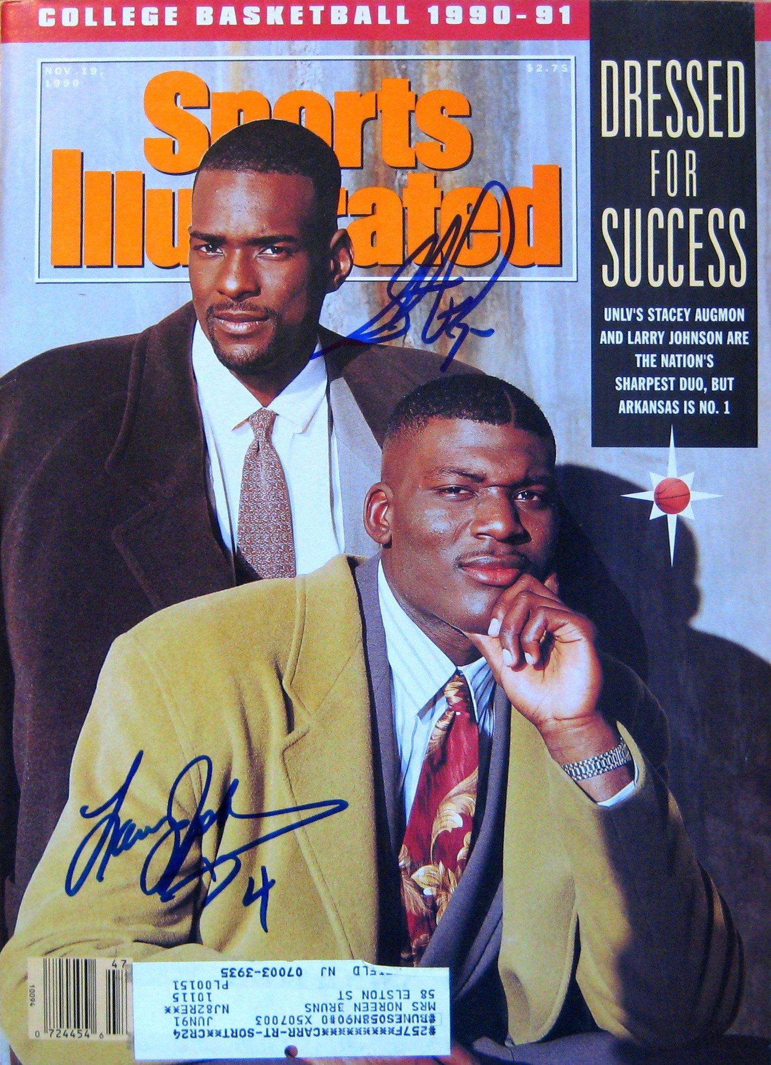 Johnson, Larry & Augmon, Stacey 11/19/90 autographed magazine
