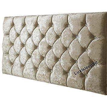 5FT 6FT 4FT Elegant Beds 32 MARKET STYLE Headboard in Crushed Velvet WITH DIAMONDS 3FT 4FT6 5FT King, Black