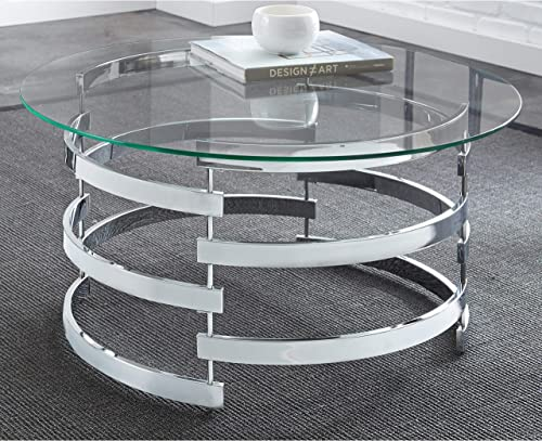 Round Coffee Table Silver Glam Glass Metal Chrome Finish
