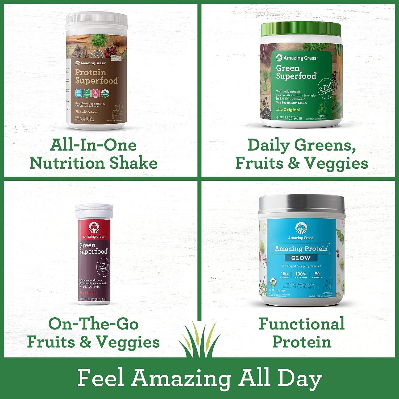 Amazing Grass, Green SuperFood Energy Lemon Lime Drink Powder, 8 ...