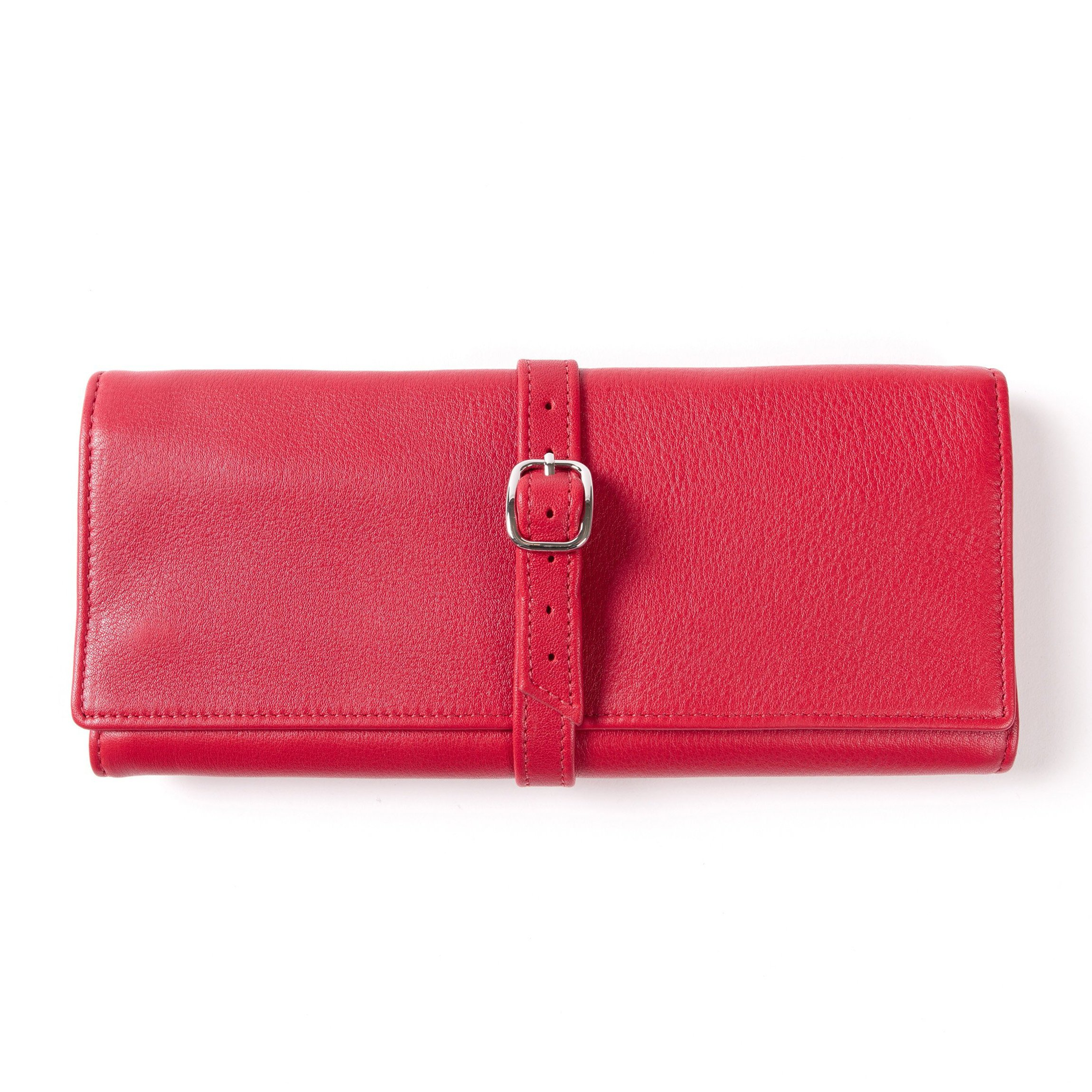 Buckled Jewelry Roll - Full Grain Leather Leather - Red Apple (red)
