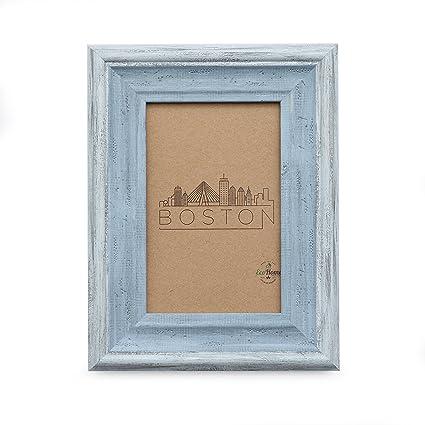 Amazon 5x7 Picture Frame Distressed Blue Mount Desktop