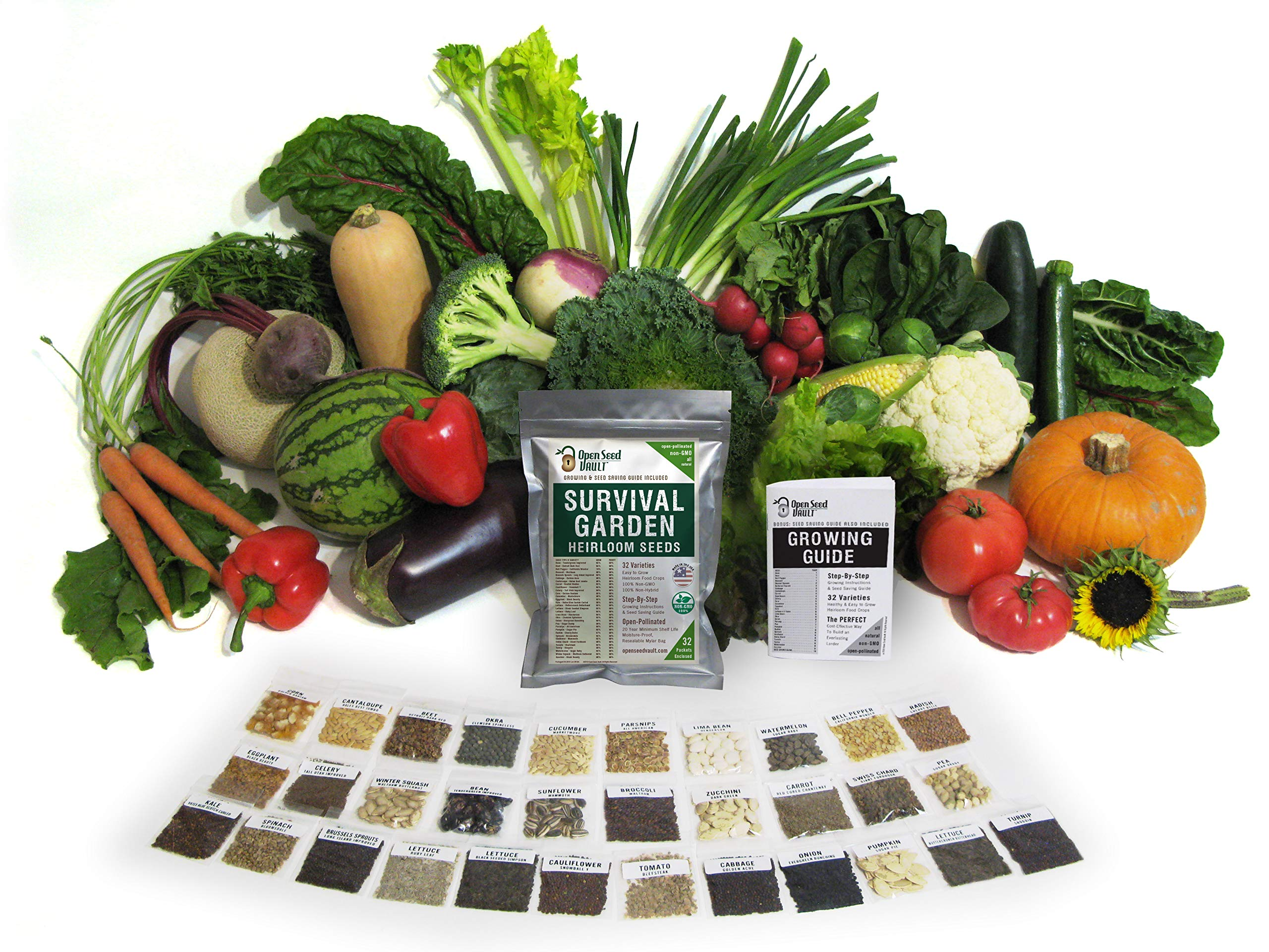 Survival Garden 15,000 Non GMO Heirloom Vegetable Seeds Survival Garden 32 Variety Pack by Open Seed Vault 2 32 Varieties of All Natural Vegetable Seeds: Non hybrid, Non gmo, Heirloom 100% Naturally Grown and Open Pollinated seeds with high Germination Rate Vegetable Growing and Seed Harvesting Guide Included with Seeds Tested for Maximum Germination and Yield.