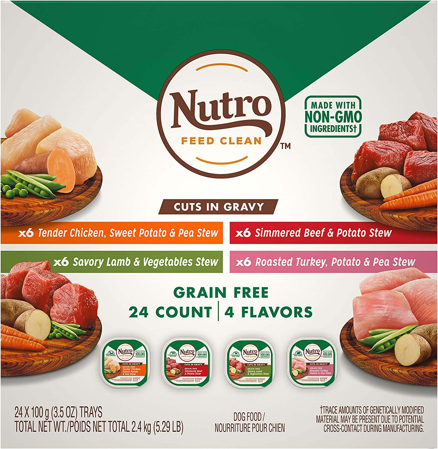 Nutro Grain Free Adult Wet Dog Food Cuts in Gravy Variety Packs