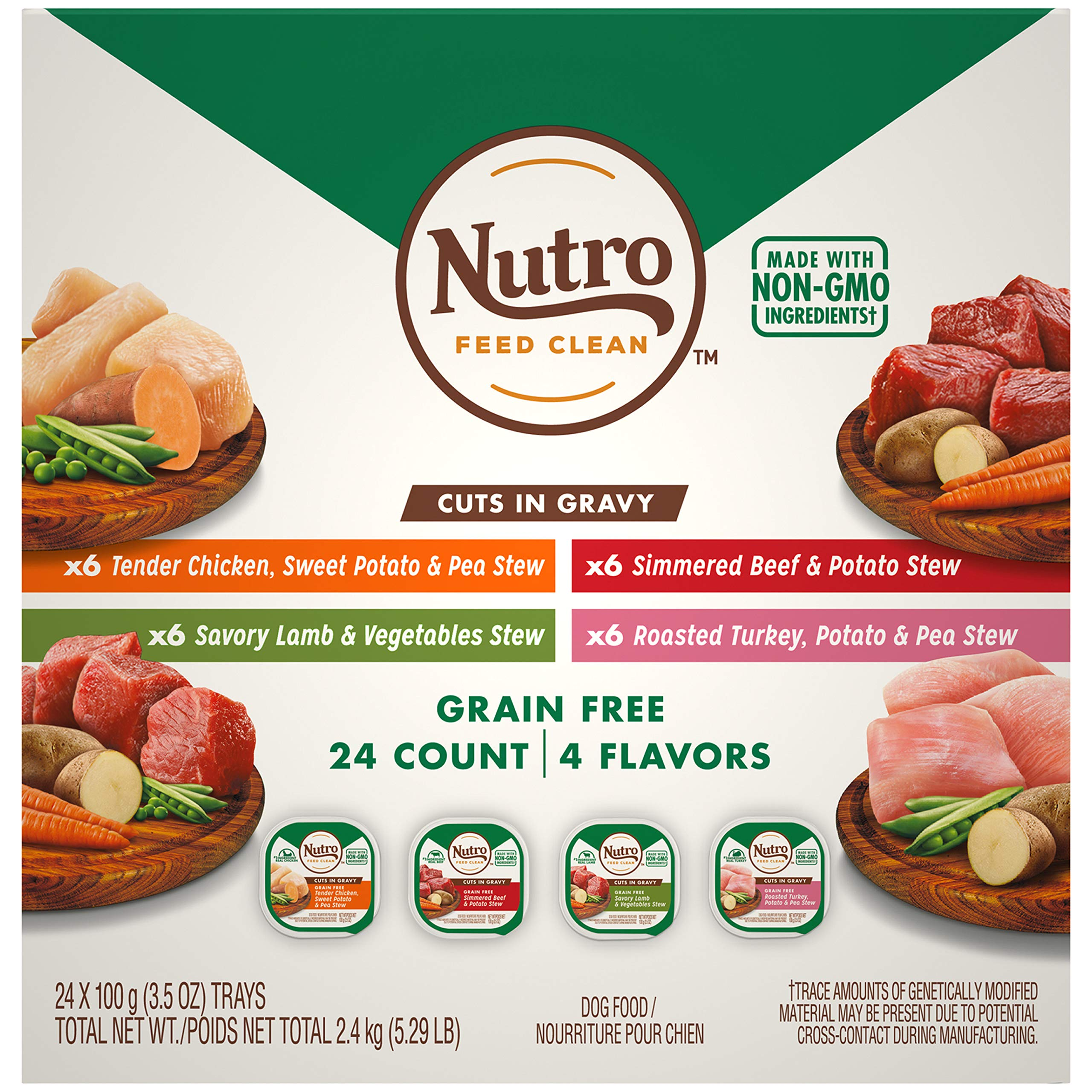 NUTRO Adult High Protein Natural Grain Free Wet Dog Food Cuts in Gravy Beef, Lamb, Chicken, and Turkey Variety Pack, (24) 3.5 oz. Trays by Nutro