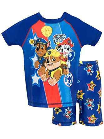 5dea9075a4064 Paw Patrol Boys Chase Rubble and Marshall Two Piece Swim Set: Amazon.co.uk:  Clothing