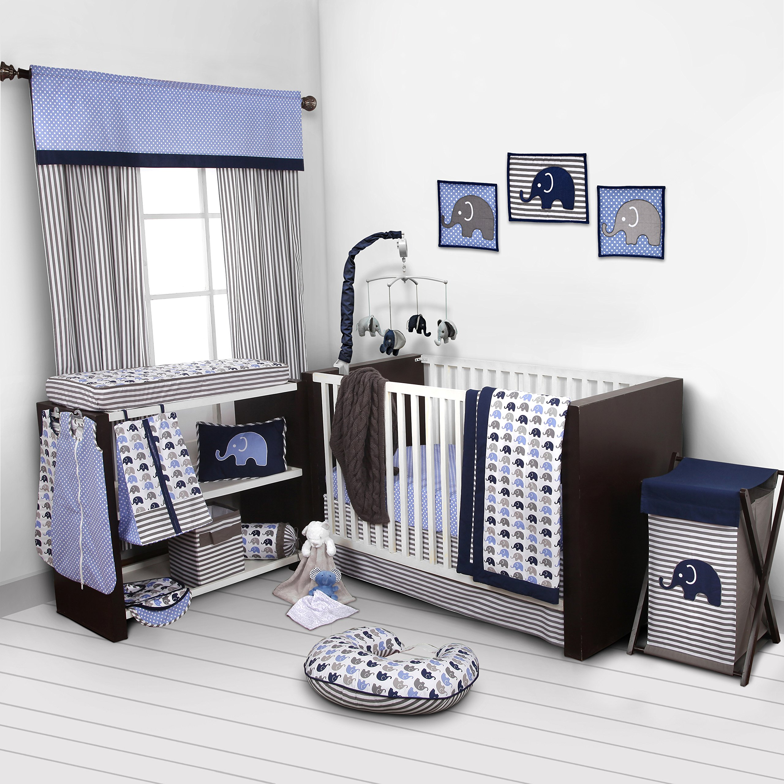 Elephants Blue/Grey 10 pc Crib Set Bumperfree