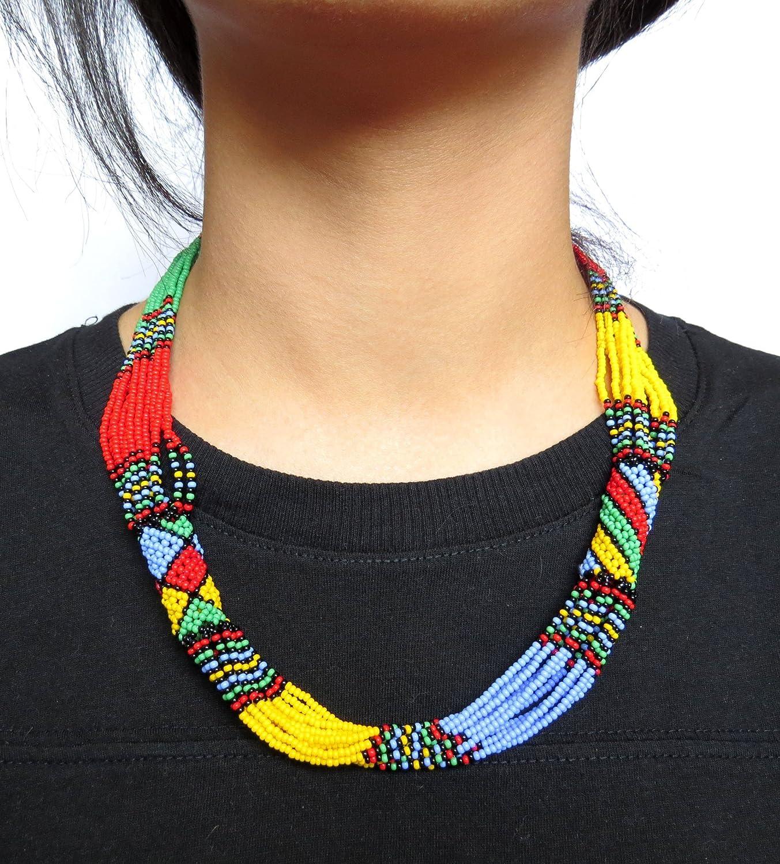 Collier en perles Sud Africain Zoulou Multicolore avec bleu clair
