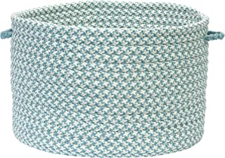 product image for Colonial Mills Outdoor Houndstooth Tweed Utility Basket, 18 by 12-Inch, Sea Blue