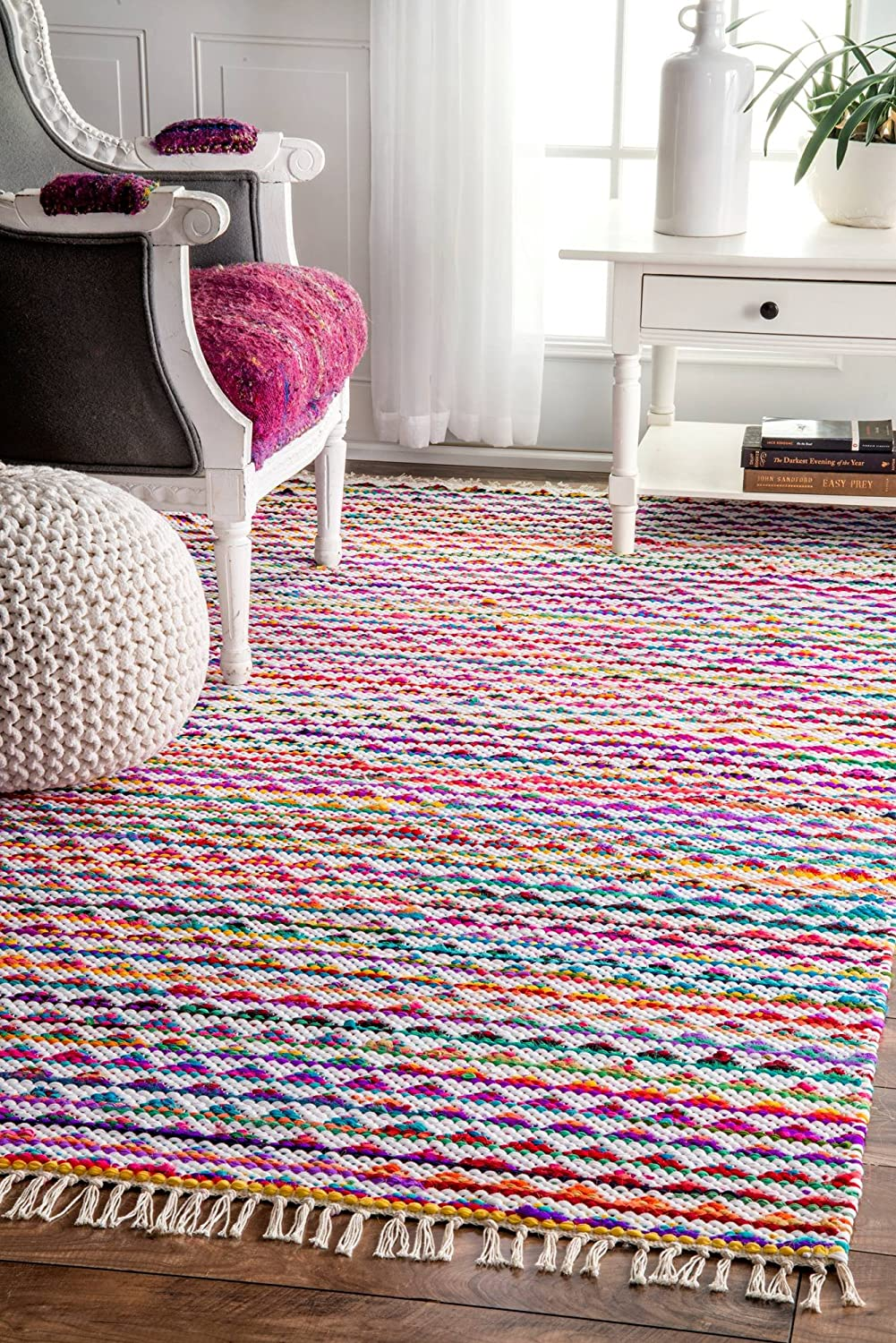 NuLOOM Geometric Rainbow Striped Triangles Bohemian Chindi Rag Rug