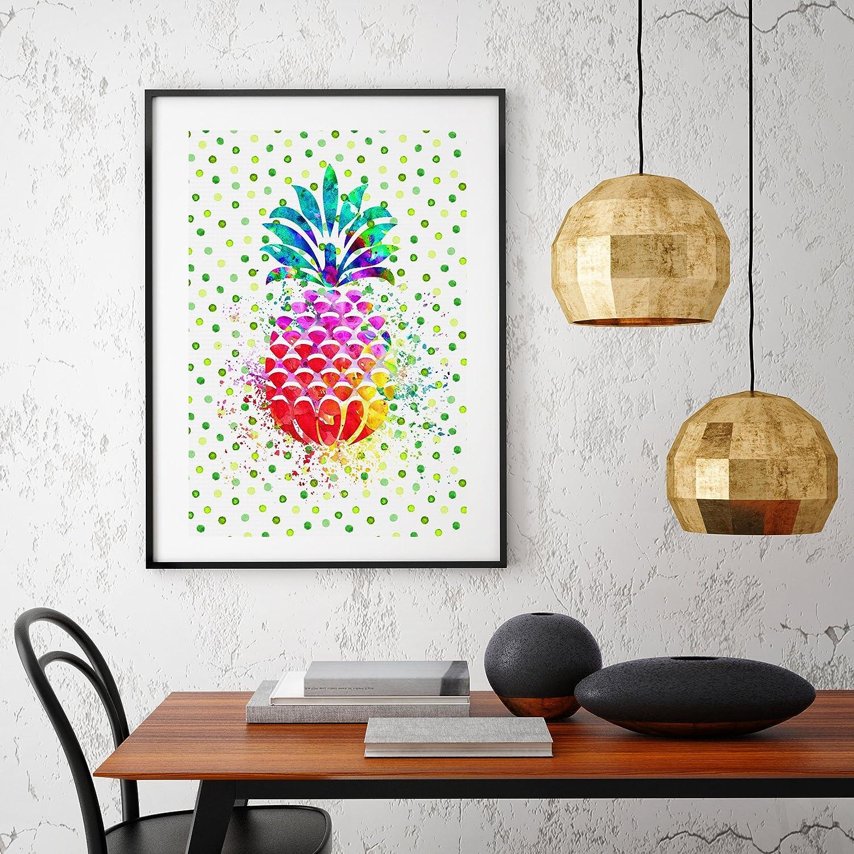 Uhomate Pineapple Hawaiian Tropical Fruit Abstract Canvas Print Wall Art for Home Decor Bedroom Decor C005 11X14