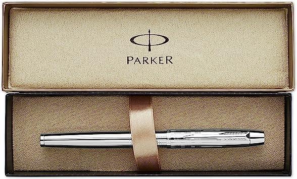 Parker IM Premium Shiny Chrome Trim Ballpoint Pen with Medium Nib Blue Gift Box