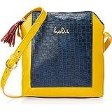 Holii Women's Sling Bag (Navy Blue & Mango Yellow)