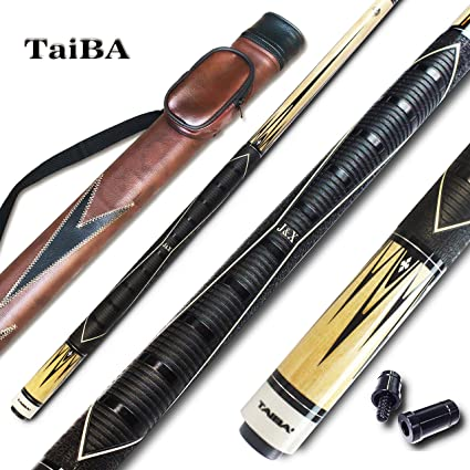 Selectable TaiBA 2-Piece Pool Stick 13mm Multilayer Leather Tip 58 Hardwood Canadian Maple Professional Billiard Pool Cue Stick 19-21 Oz Hard Case Linen Wrap