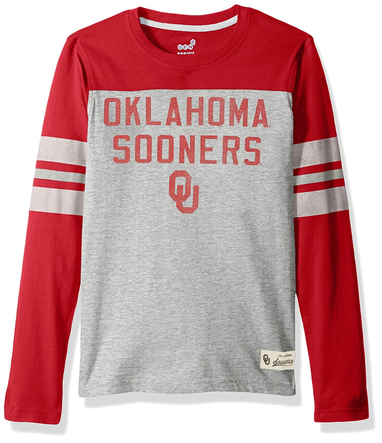 14-16 NCAA by Outerstuff NCAA Oklahoma Sooners Kids /& Youth Boys Legacy Tee Long Sleeve Crew Youth Large Heather Grey