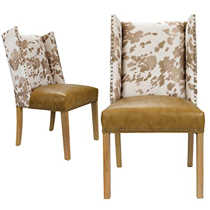 Exceptional Sole Designs Rexford Faux Cowhide Leather And Fabric Upholstered Dining  Side Chair, Nailhead Trim,