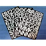 """Pack of 79 x 2"""" (50mm) White Vinyl Sticky Letters & Numbers , Self-Adhesive , Stick on , Cut-to-shape , waterproof lettering for signs, vehicles, boats, posters & school projects"""