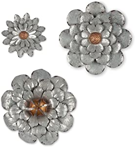 The Gerson Company Hangers Set of 3 Galvanized Wall Flowers