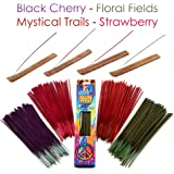 Hosley 260 Pack Assorted Incense Sticks Black Cherry, Floral Fields, Mystical Trails, Strawberry with 4 Holders Ideal Gift for Wedding, Spa, Reiki, Aromatherapy, Bathroom Bulk Buy O6