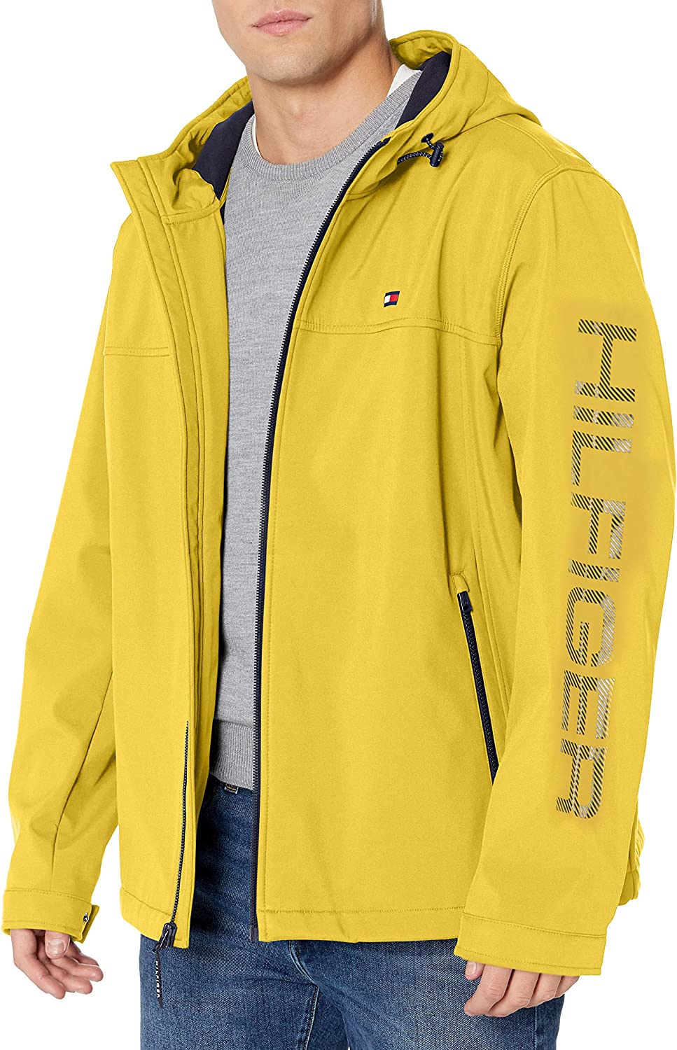 Tommy Hilfiger Mens Soft Shell Performance Hoody Logo Jacket