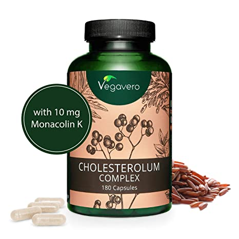 Suplemento Colesterol Vegavero® | 100% VEGETAL | Red Yeast Rice + 10 mg Monacolina K + Fitoesteroles + Berberine + Hawthorne (Crataegus) + Cynara ...