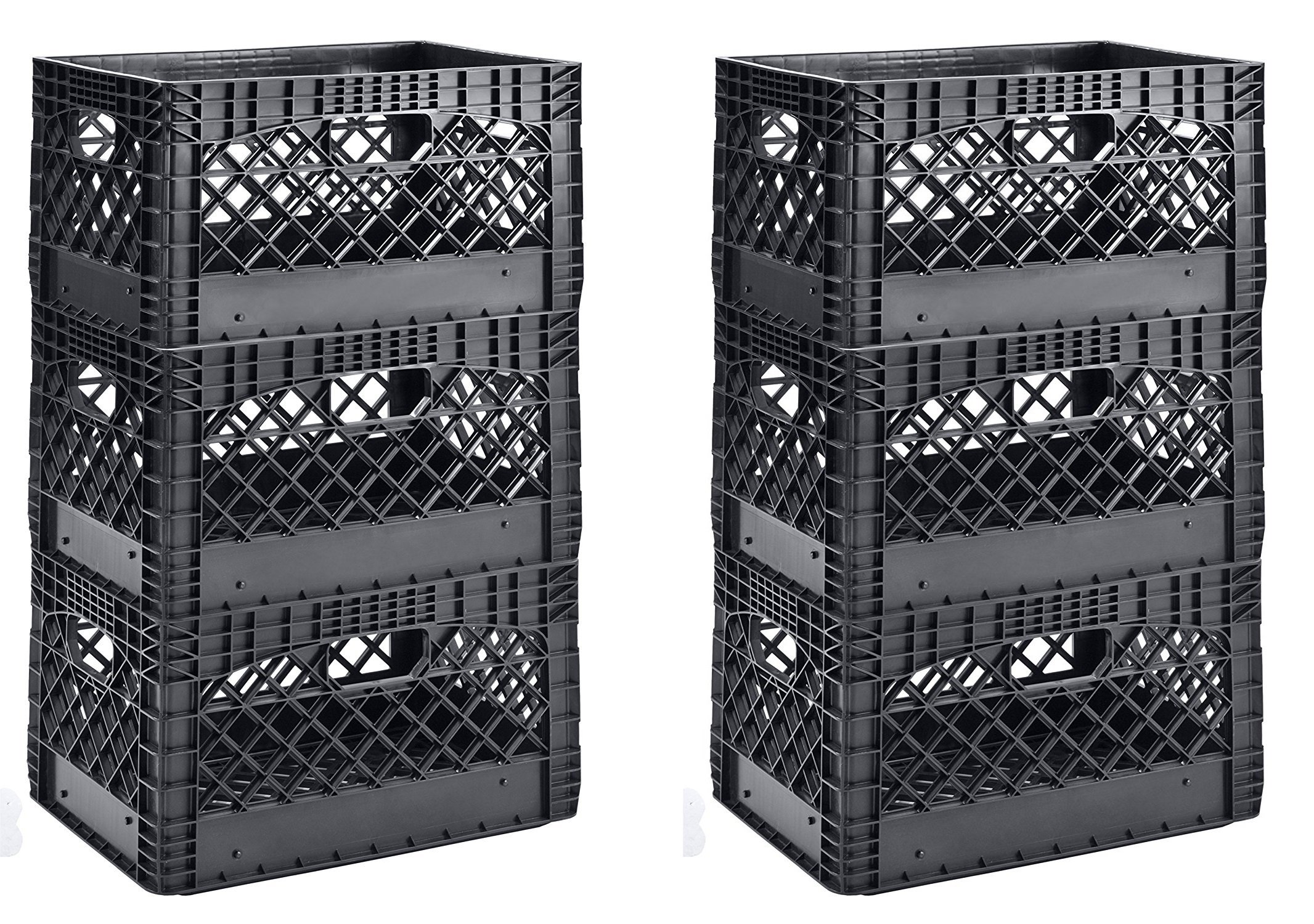 Muscle Rack PMK24QTB-3 24 quart 3 Pack black Heavy Duty Rectangular Stackable Dairy Milk Crates , 11'' Height, 19'' width (2 X 3 Pack)