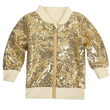 Amazon.com: Cilucu Kids Jackets Girls Boys Gold Sequin Zipper Coat ...