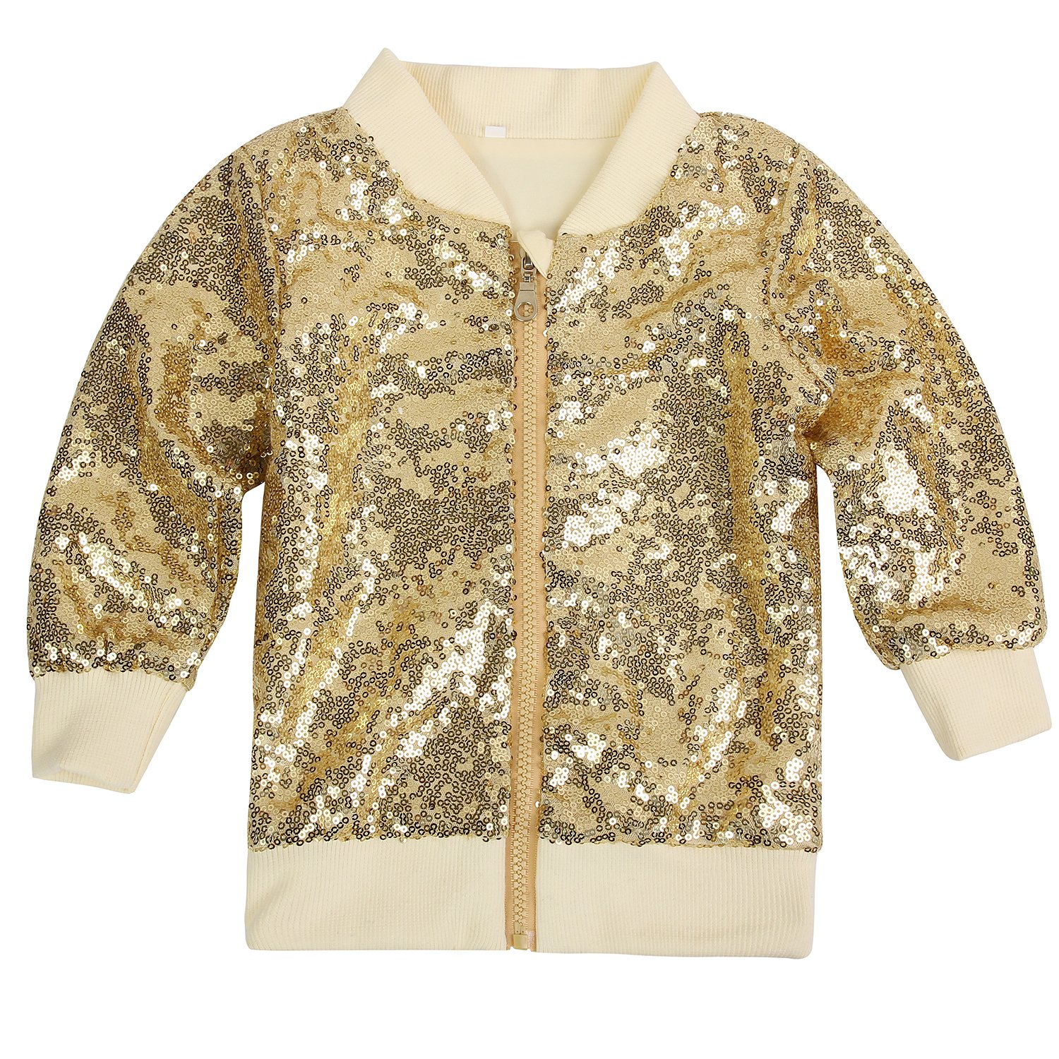 Cilucu Kids Jackets Girls Boys Gold Sequin Zipper Coat Jacket for Toddler Long Sleeve Clothes 5-6T by Cilucu