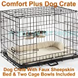 """Dog Crate Puppy Cage Small Medium Large XL XXL Metal Folding Training Cage With Metal Tray (Design 5 Comfort Plus Cage, Size 3 - 36"""" Large)"""