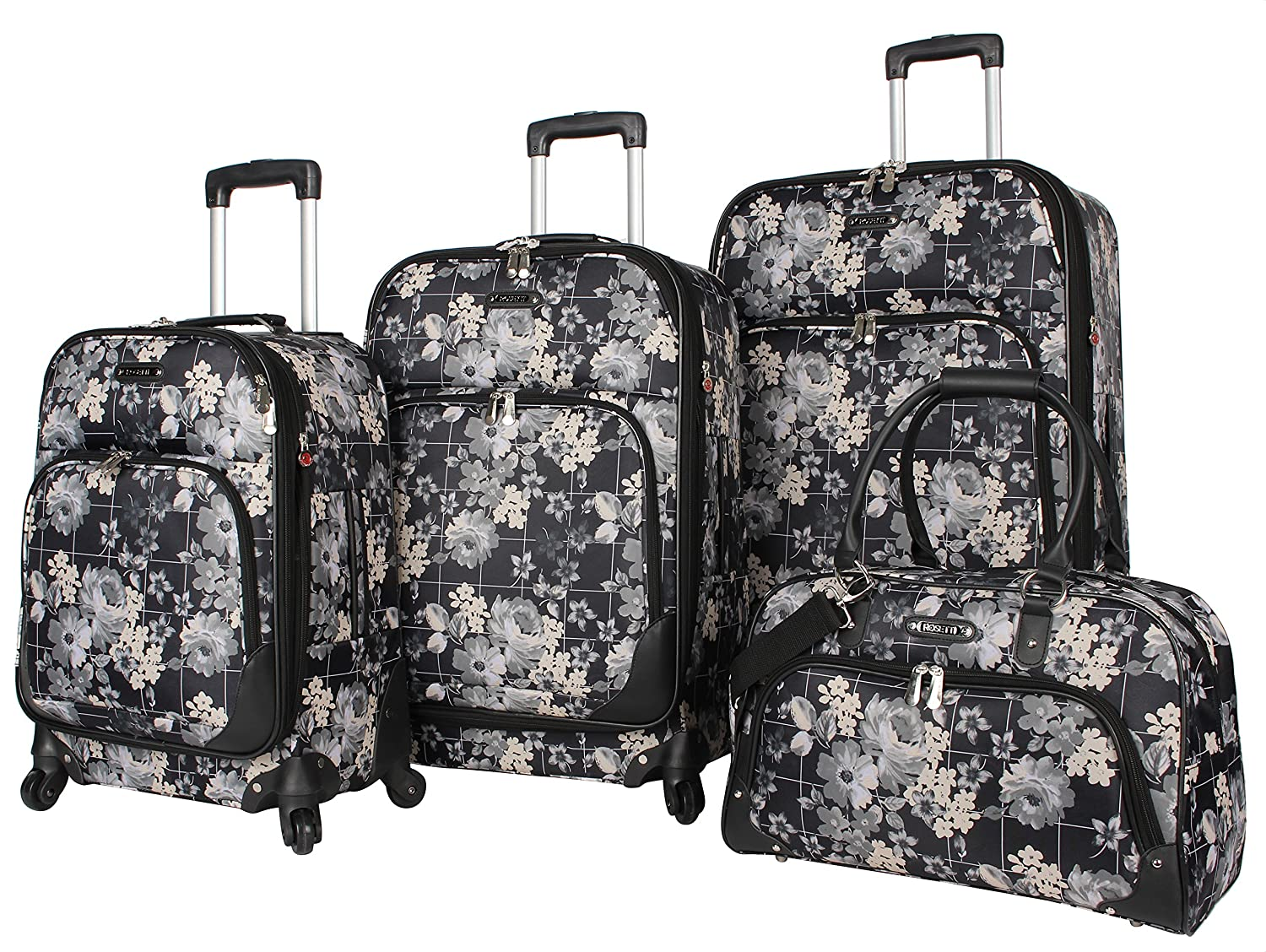 Rosetti Luggage Set 4 Piece Expandable Softside Suitcase With Spinner Wheels