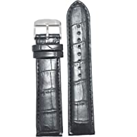 Kolet 22mm Croco Padded Leather Watch Strap (Black)