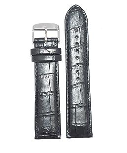 Kolet 18Mm Croco Leather Padded Watch Strap (Black)