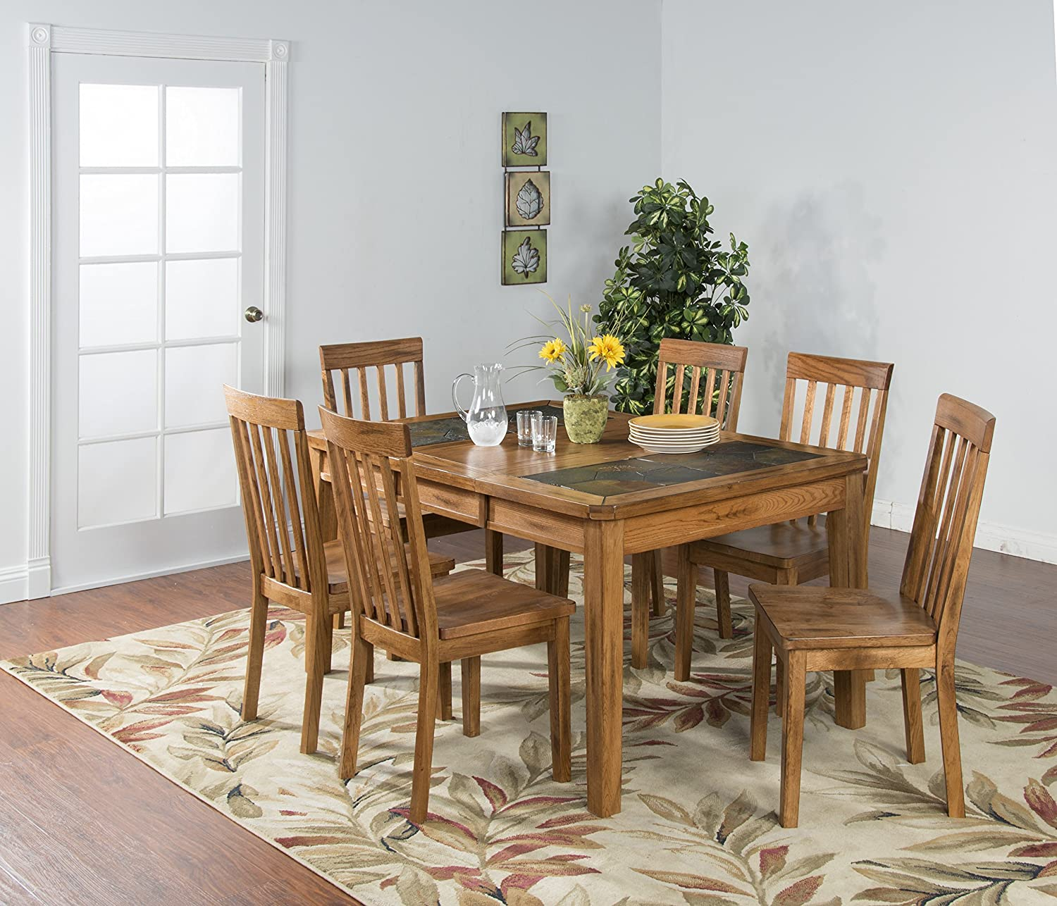 Sunny Designs Sedona 42 Extendable Slate Dining Table in Rustic Oak