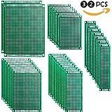 ELEGOO 32 pezzi 2X8 3X7 4X6 5X7 7X9CM Basetta Millefori Scheda Prototipo Forata Doppia Lato Faccia PCB Circuito Stampato Prototype per Arduino
