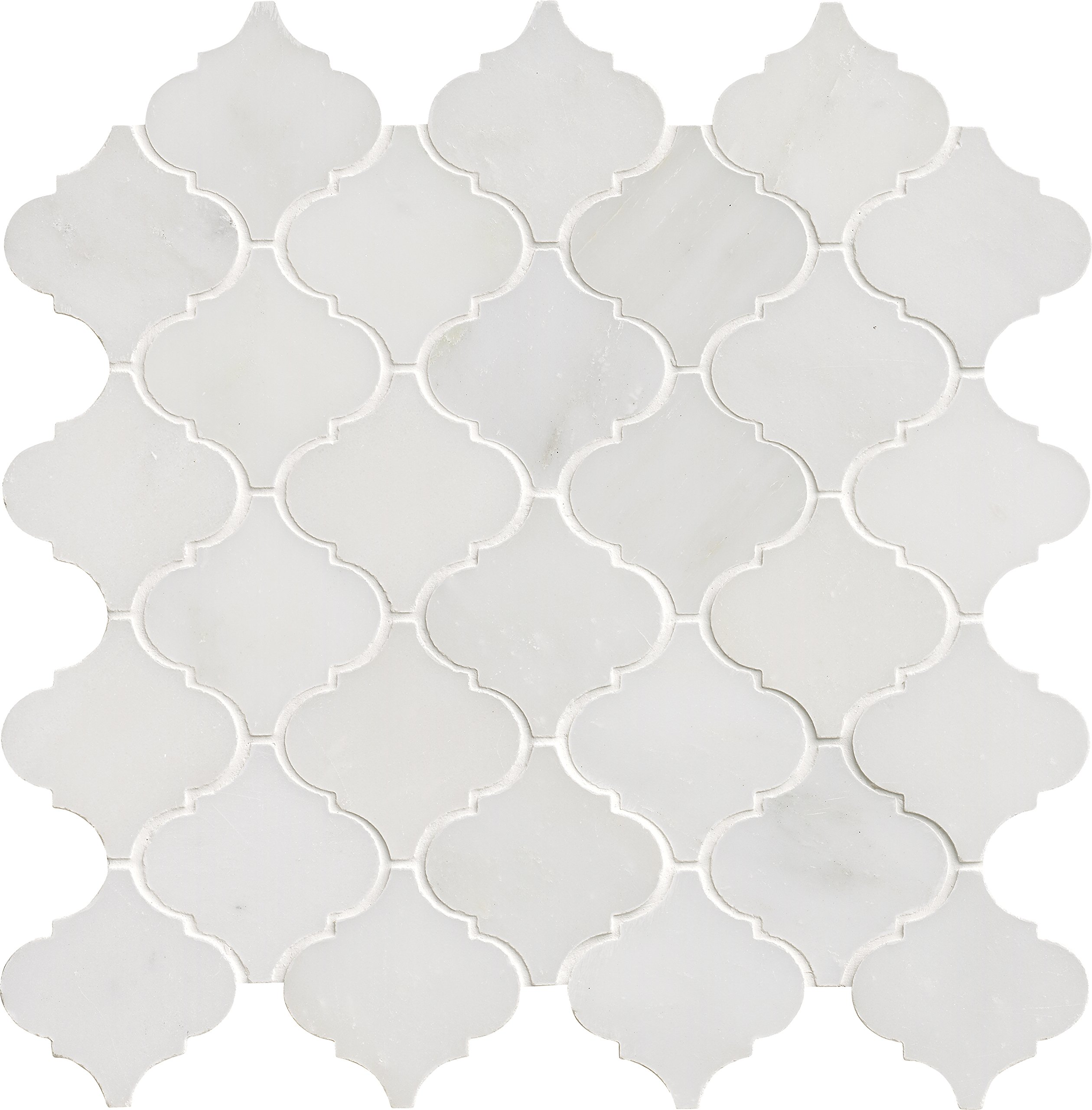 M S International Arabescato Carrara Arabesque 12 In. X 12 In. X 10 mm Polished Marble Mesh-Mounted Mosaic Floor And Wall Tile, (10 sq. ft., 10 pieces per case), White