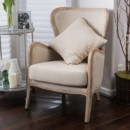 Amazon.com: Great Deal Furniture Milton | Fabric and Oak Wing Chair ...