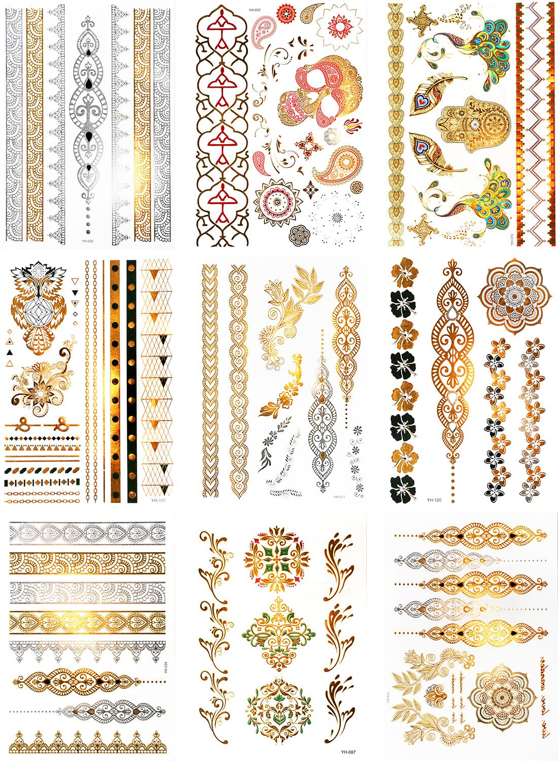 Scotamalone Metallic Henna Temporary Tattoos, 9 Sheets, Waterproof Temporary Henna Tattoos Stickers in Shimmer Designs (Gold, Silver, Black, Green) TT-LS0037