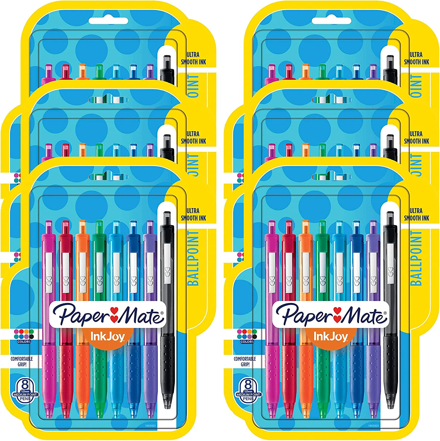 Assorted 48 Count Medium Point Retractable Ballpoint Pens - New 6 Packs of 8
